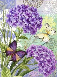 geraniums and butterflies.Purple geraniums and butterflies. Decoupage Vintage, Vintage Diy, Vintage Cards, Vintage Paper, Vintage Images, Art Floral, Flower Collage, Flower Art, Flower Beds