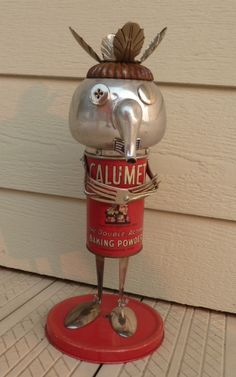 Calumet Man Owbot. Old and Weird Robot made from found objects.