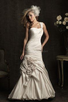 Meerjungfrau Stil Taft attraktives Brautkleid mit Falte Mieder