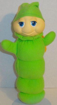 "VINTAGE 1982 ORIGINAL HASBRO GREEN GLOWORM LIGHT UP GLOW GLO 13"" PLUSH DOLL TOY #Hasbro"