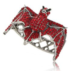 Bat Animal Bracelet Bangle Cuff Red Swarovski Crystal Silver Tone