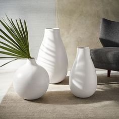 Oversized Pure White Ceramic Vases #westelm