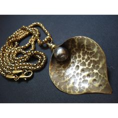 Calla Hammered Bronze Pearl Necklace Antique Face Metalwork Modern... ($28) ❤ liked on Polyvore featuring jewelry and necklaces