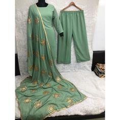 Green faux georgette plazzo suit