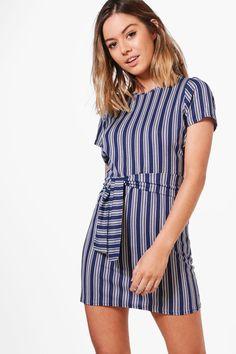 c065bbb60856 Junior Clothing   Mustard Stripe Tie Front Shift Dress - Best ...