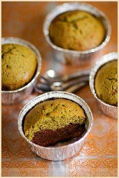 Chocolate and Matcha Green Tea Cakes-I like this idea...might change some of the ingredients though...