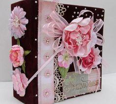 Handmade Photo Album , Mini Scrapbook Album , Brag Book in Pink and Burgundy
