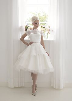 Florence Short tea length vintage inspired wedding dress with sweetheart bodice, illusion neckline and cap sleeves