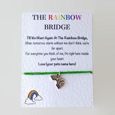 Personalised Pet Memorial Bracelet. Rainbow Bridge Pet Charm Bracelet. Pet Sympathy Card Greeting. Pet Memorial Bracelet. Choose Your Pet! by PetitePolly on Etsy