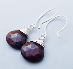 Petite Garnet Heart Briolette Gemstone Sterling by eedesigns05