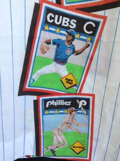 MLB Baseball Card Stripes Pair Curtains/Drapes 1989 Bibb CUBS-WHITE SOX-YANKEES