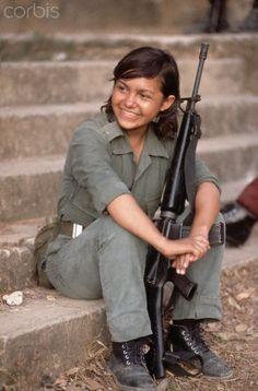 """La Palma, El Salvador 1983 female Guerrilla soldier. """"Hasta la victoria siempre"""""""