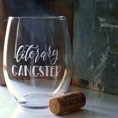 Literary gangster wine glass