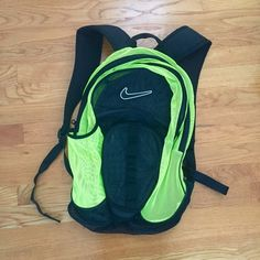 Nike Neon Backpack Perfect condition mesh backpack with a lot of pockets and side water bottle holder Nike Bags Backpacks