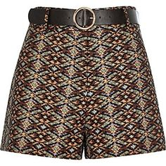 Brown jacquard belted high waisted shorts