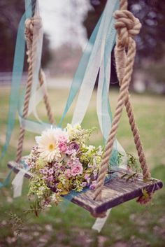love to swing....add flowers for romance