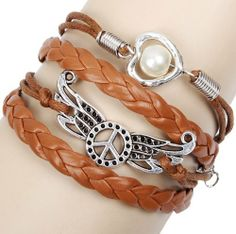 Fashion Lady Retro Wings Love Heart Bracelet in Silver Color - Brown Wax Cords and Leather Braid Strands Bracelet Suede Rope Bracelet Gift Whatland,http://www.amazon.com/dp/B00J3K1ZCK/ref=cm_sw_r_pi_dp_3vcEtb190J038TPR