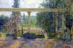 Charles Neal, View over the Italianate Terrace, Afternoon May, Peto Garden, Wiltshire