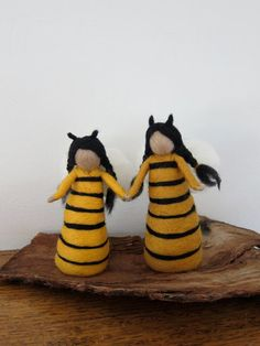 Needle Felted-Bee doll- Spring- Bee- Standing Doll-Ecofriendly toy- Waldorf- Bee Queen-Made to order