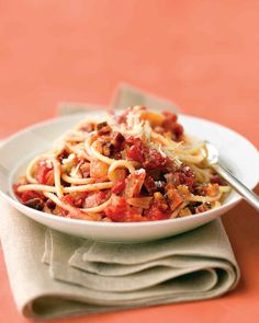 This recipe is inspired by amatriciana sauce, a hearty Italian classic that is often made to go with the extra-chewy, hollow pasta called bucatini.
