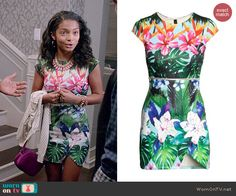 Zoey's tropical print mini dress on Black-ish.  Outfit Details: http://wornontv.net/45791/ #Blackish