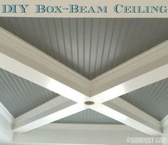 My dining room ceiling is DONE and I'm so excited about it! I've been sharing lots of updates as this ceiling has come together and a lot of you have asked for instructions on how to build a box beam ceiling. This is the same technique used on all three Ceiling Detail, Ceiling Design, Mini Chalet, Murphy Bed Plans, Murphy Beds, Ceiling Treatments, Wood Ceilings, Shiplap Ceiling, Coffered Ceilings