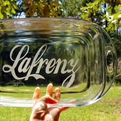 Name That Pan  Personalized Glass Baking Dish 9x13 by InMyLife, $39.00 -  also makes a great gift
