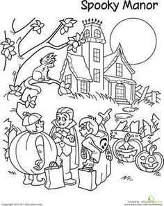 Halloween Second Grade Holiday Worksheets: Trick-Or-Treat Coloring Page Halloween Coloring Pictures, Free Halloween Coloring Pages, Coloring Pages For Girls, Halloween Pictures, Free Coloring Pages, Coloring For Kids, Halloween Ideas, Halloween Scene, Halloween Poster
