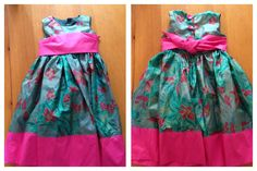 Party dress for my daughter's birthday made using this pattern http://thecottagehome.blogspot.co.uk/2011/01/party-dress-printable-pattern-and.html?m=1 just got to try it on her now. Fabric was a bargain from a charity shop- think it's silk and about 5 metres of it cost me £4.99 :-)
