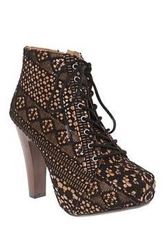 Qupid Lace Overlay Bootie, $49.50