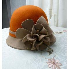 Women Orange Camel Wool Winter Dress Church Bucket Hat Store Online  SKU-158142