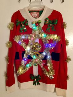 Lights up Unique Ugly Christmas sweater, Tacky Christmas sweater,Star Christmas sweater. by GiftycraftyArt on Etsy Homemade Ugly Christmas Sweater, Ugly Christmas Sweater Women, Christmas Jumpers, Christmas Shirts, Christmas Sweaters, Christmas Ideas, Holiday Ideas, Christmas Decor, Christmas Bathroom