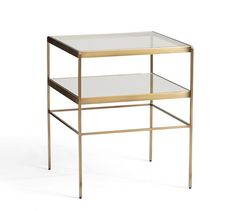"""leona cube table with glass top and mirrored shelf : use pair as coffee table   18""""SQ x 22""""H   pottery barn"""