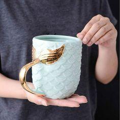 Cute Coffee Mugs, Cool Mugs, Tea Mugs, Coffee Cups, Ceramic Cups, Ceramic Pottery, Ceramic Art, Mermaid Mugs, Beauty Glazed
