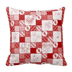 Red Work Floral Quilt Throw Pillow #zazzle #redwork #quilt #pillow #red #flowers