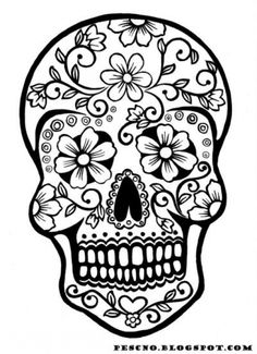 Printable Sugar Skull Adults Coloring Page