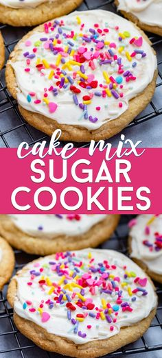 Use this easy cake mix hack - make Cake Mix Sugar Cookies for an easy but delicious sugar cookie recipe. They& soft and chewy with a homemade frosting and no one will guess they& from a box! Sugar Cookie Cakes, Sugar Cookie Frosting, Homemade Frosting, Cake Mix Cookies, Sugar Cookies Recipe, Cookies Et Biscuits, Brownie Cookies, Sandwich Cookies, Buttercream Frosting
