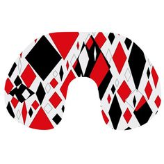 Distorted Diamonds in Black & Red Travel Neck Pillow