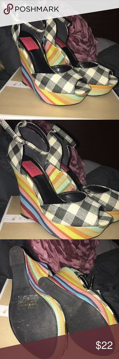 Plaid and stripes wedged heels Fabric wedges in Black and white plaid pattern and a multi-colored heel Shoes Wedges