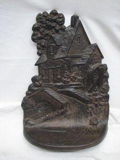 Antique Cast Iron Door Stop Greenblatt Studios Boston Water Wheel Mill Bookend