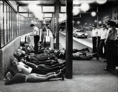 Punks and skinheads are detained by police near Central Station, Sydney circa 1980s. Photo by Peter Morris, Fairfax Archives