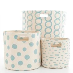 Make a storage style statement with this durable woven cotton bin. Featuring a sky blue polka dot print on a white background, this storage bin is durable enough to haul bed and bath linens, clothing and accessories, and even toys, yet pretty enough to display in your bedroom, bathroom, or kids rooms. Part of our exclusive collaboration with Pehr Designs, Mina coordinates with any of our sky C3 bedding and bath accessories, including shower curtains, bath mats, towels, and window panels…