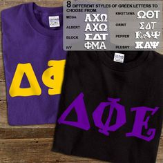 Delta Phi Epsilon Sorority 2 Printed T-Shirts Pack #greek #sorority #clothing #dphie #deltaphiepsilon #letters #tees #tshirt