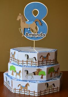 Horse Pony Birthday Party Cake Favor Box with 3D by bcpaperdesigns, $27.00 This is worth looking into!