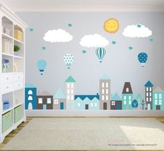 A great addition to any child's bedroom, play room, or nursery and are fully removable and reusable, unlike vinyl wall decals.  ♥ Simply peel and stick - no fussy application ♥ Fully REMOVABLE and REUSABLE (unlike vinyl wall decals) ♥ Thin fabric wall decal – NOT pvc vinyl ♥ Leaves no residue ♥ Kid friendly, non-toxic, green, phthalates free  WHAT'S INCLUDED > 3 Clouds - Each 22 width x 10 height > Sun - 12 height > 4 Hot Air Balloons - Each 7 width x 11 height > Homes/buildings/trees - 100…
