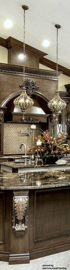 Luxury Kitchens Mediterranean/Tuscan/Old World Decor Elegant Kitchens, Luxury Kitchens, Beautiful Kitchens, Cool Kitchens, Modern Kitchens, Kitchen Modern, Country Kitchen, Tuscan Design, Tuscan Style