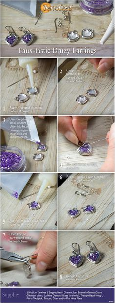 Make spectacular earrings with TierraCast Stepped Heart charms and glass glitter with this easy faux-druzy technique.