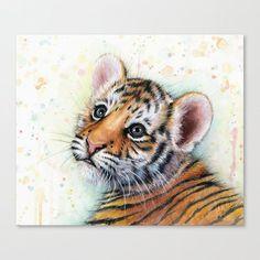 Tiger Cub Baby Animal Nursery Art Watercolor by OlechkaDesign