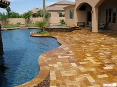 travertine pavers make great choices for both indoor and outdoor use. with the unique texture of the travertine stone pavers the place can be your favourite spot to spend time the loved ones Tropical Backyard, Backyard Pool Designs, Backyard Paradise, Pool Landscaping, Backyard Ideas, Natural Stone Pavers, Natural Stones, Pool Pavers, Backyard Pavers