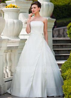 Forme Marquise Sans bretelle Traîne courte Organza Satiné Robe de mariée avec Plissé Emperler Sequins (002011456)